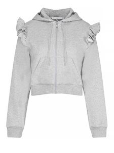 Moschino - Hooded zipped and rouches sweatshirt in grey