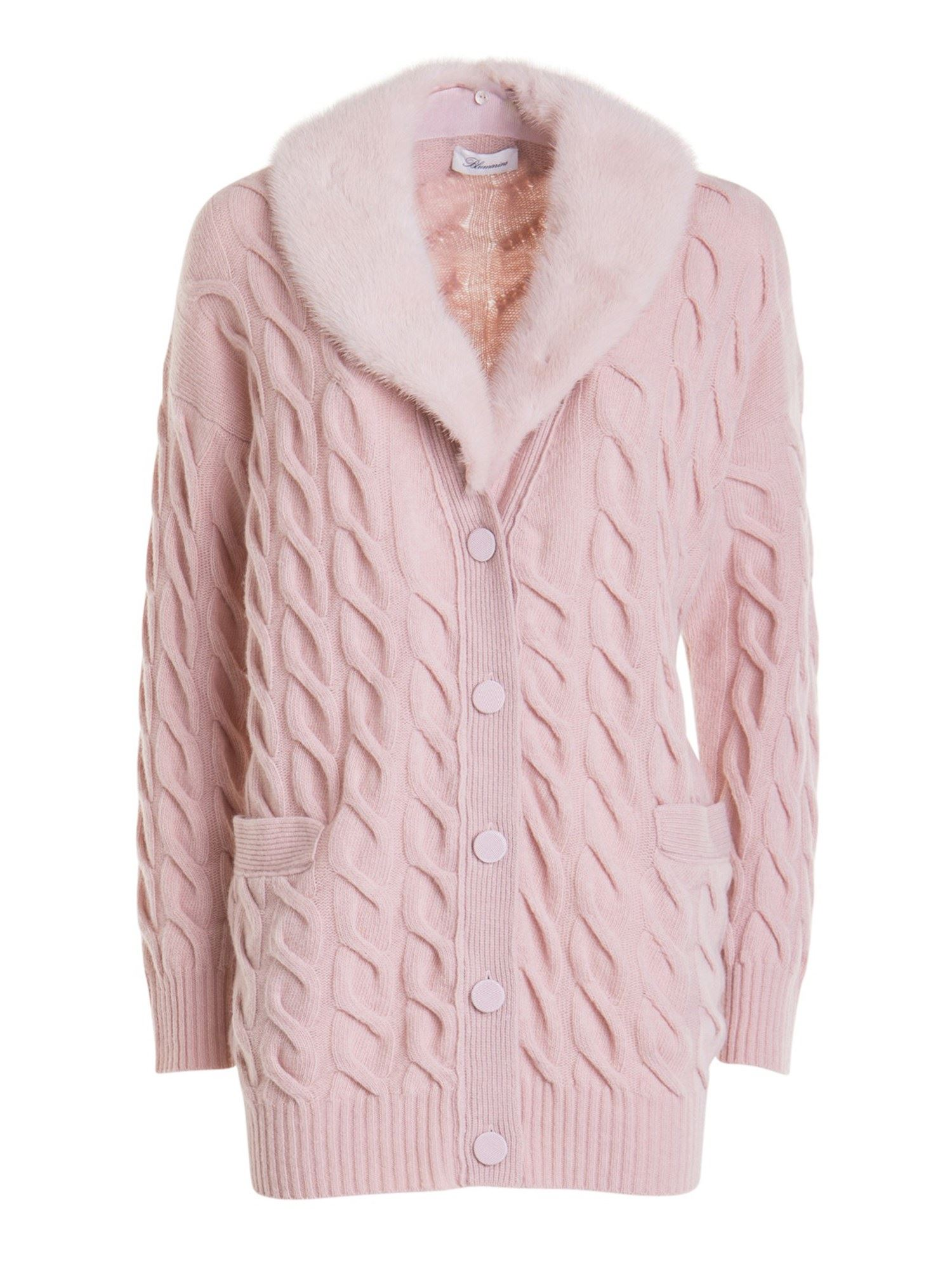 Blumarine FUR TRIM CABLE KNIT CARDIGAN