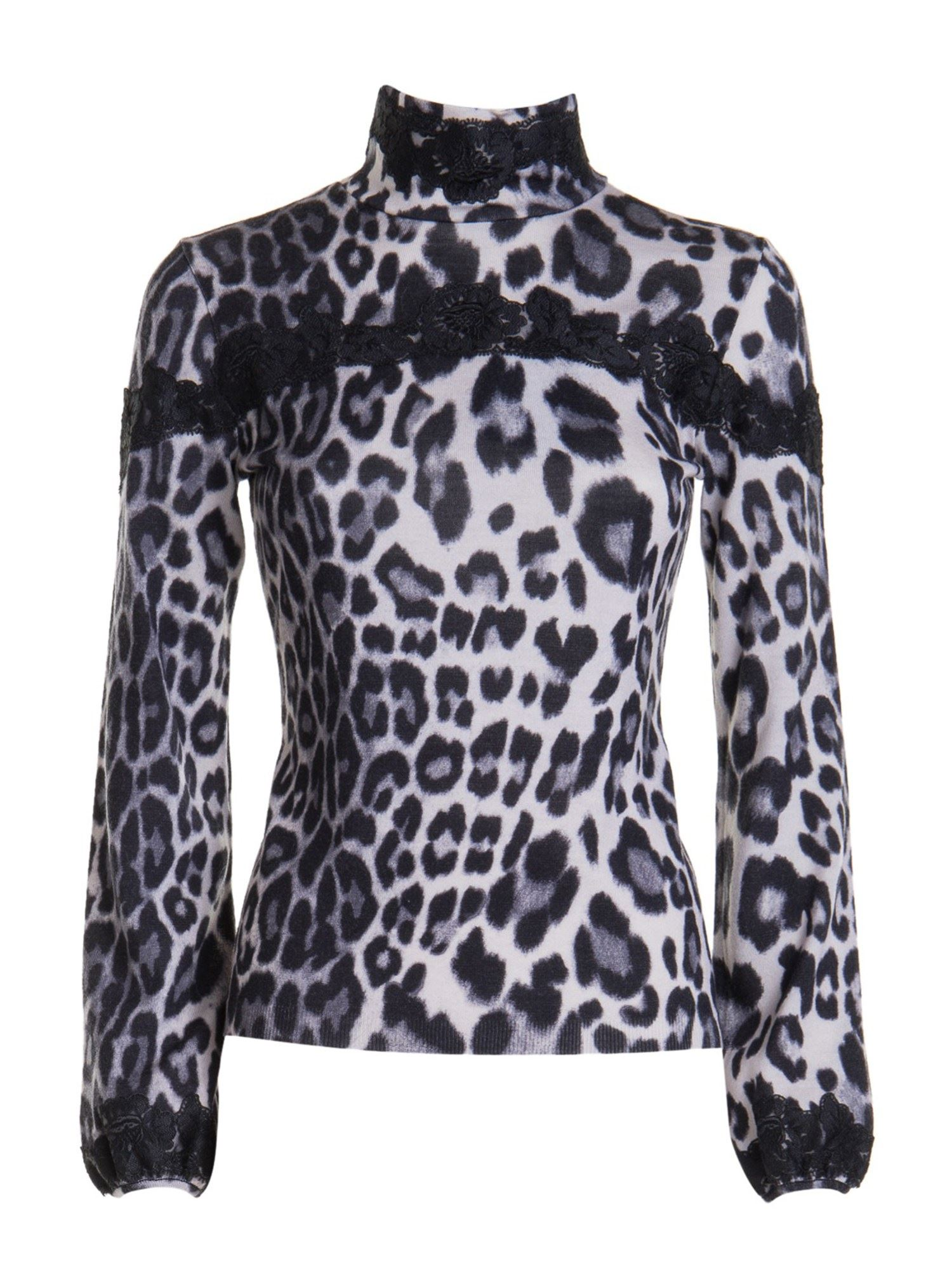 Blumarine LACE TRIM ANIMAL PRINT TURTLENECK