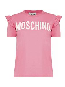 Moschino - Ruffled embroidered logo t-shirt in pink