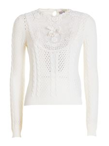 Red Valentino - Lace embroidered cotton sweater