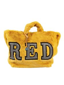 Red Valentino - Strass lettering faux fur bag
