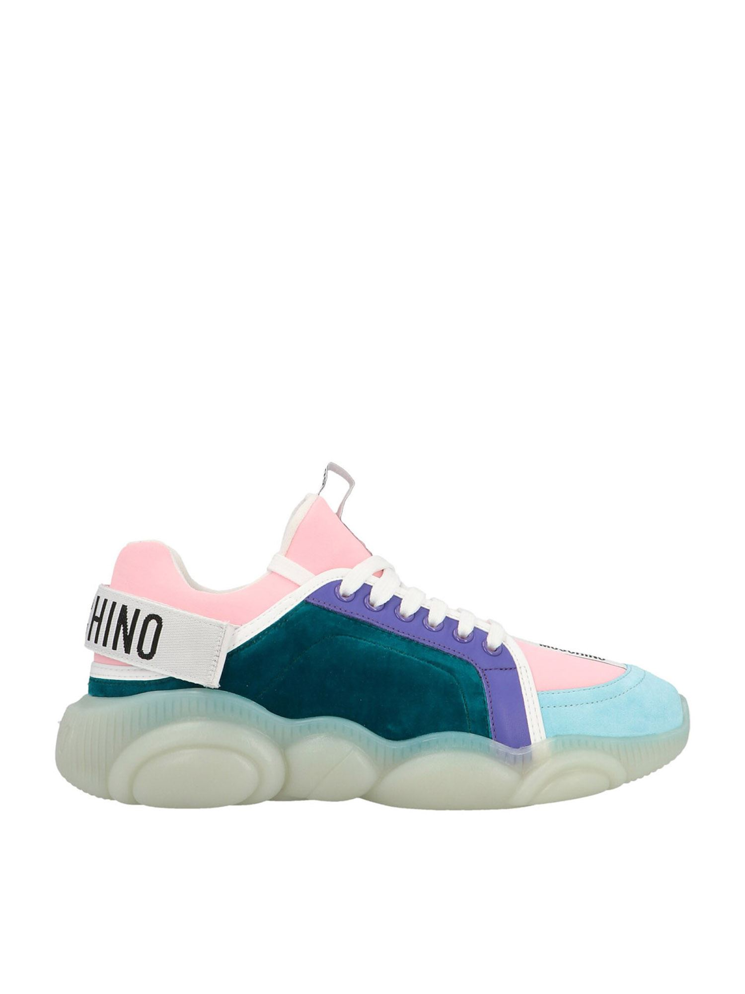 Moschino TEDDY SHOES SNEAKERS IN TEAL COLOR