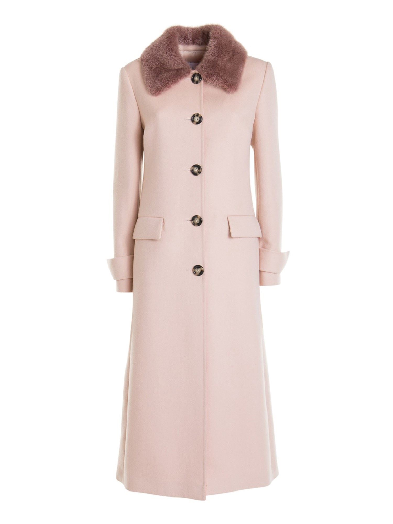 Blumarine FUR COLLAR WOOL-BLEND COAT