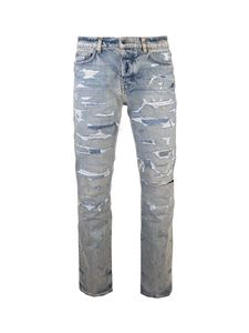 Amiri - Destroyed effect jeans in blue