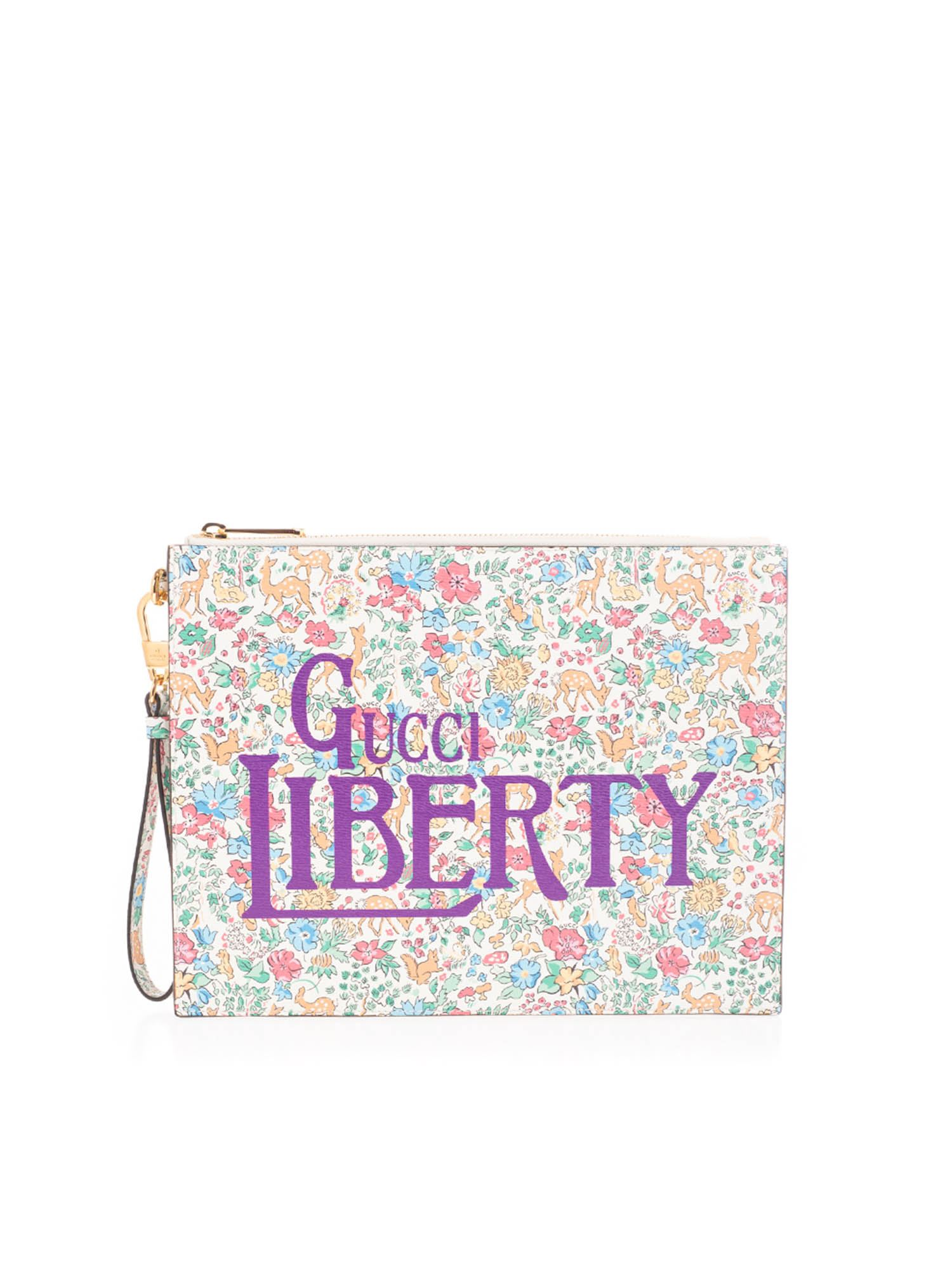 Gucci Leathers FLORAL PRINT CLUTCH IN MULTICOLOR