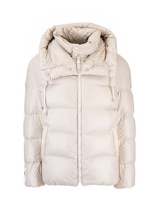 DROMe - Hooded down jacket in dove grey color