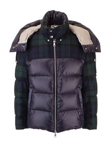 DROMe - Fabric details down jacket with blue and green