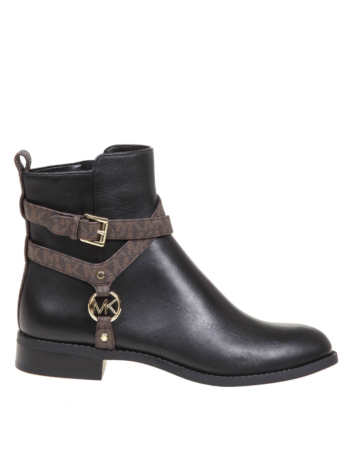 Michael Kors PRESTON STRAP ANKLE BOOTS IN BLACK AND BROWN