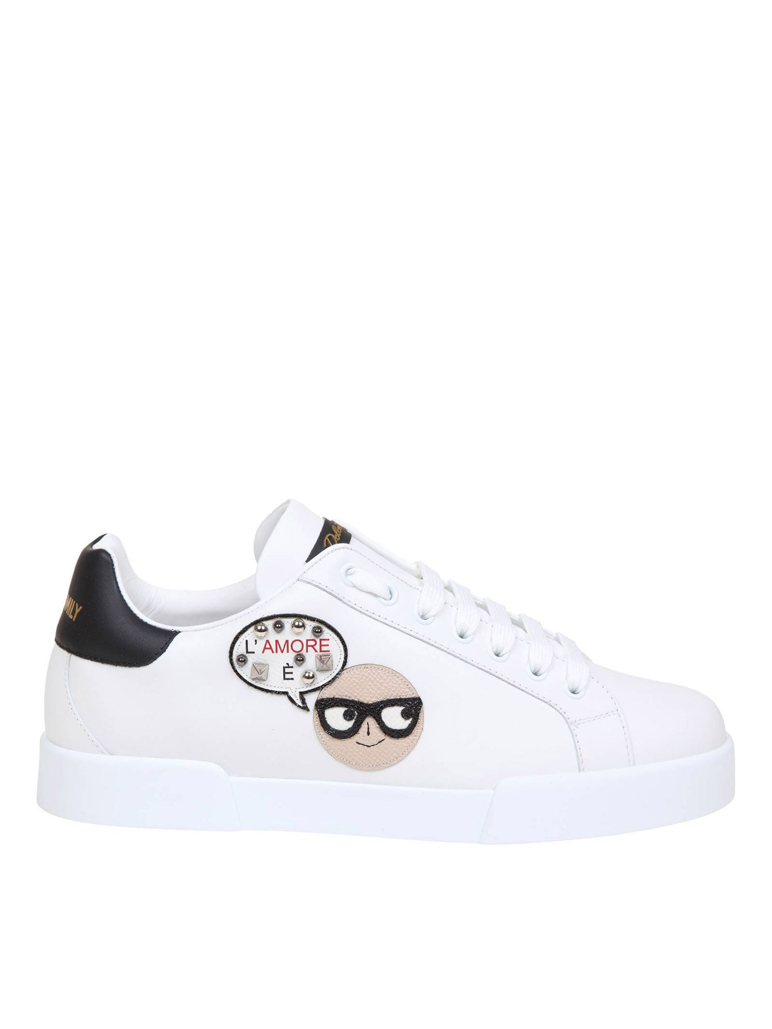 Dolce & Gabbana Leathers DESIGNER PATCH SNEAKERS IN WHITE AND BLACK