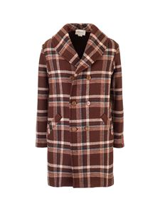 Gucci - Coat with check pattern in brown
