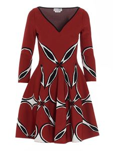 Alexander McQueen - Black and white print dress in red