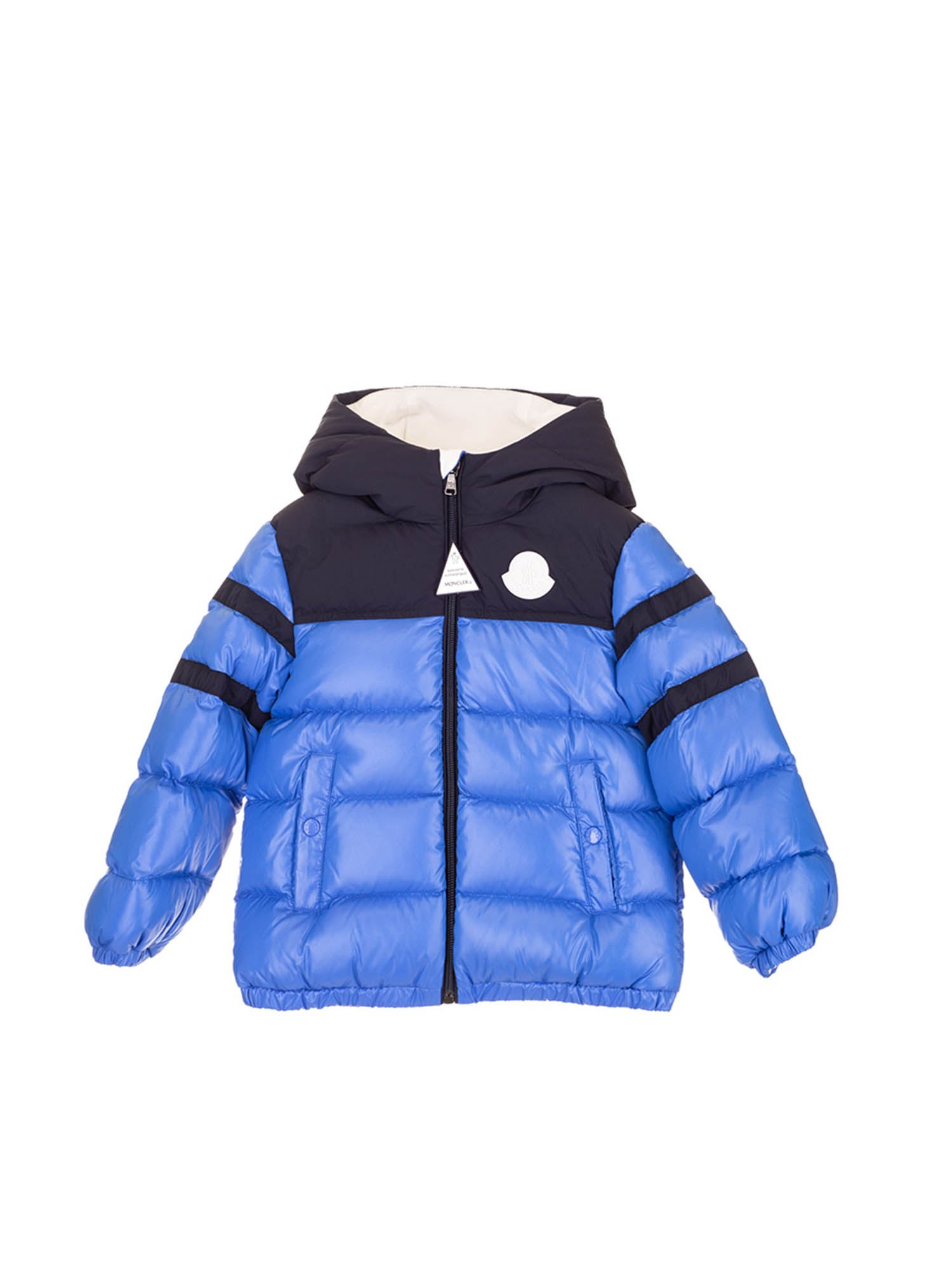 Moncler Jr TWO-TONE LOGO DOWN JACKET IN BLUE AND BLACK