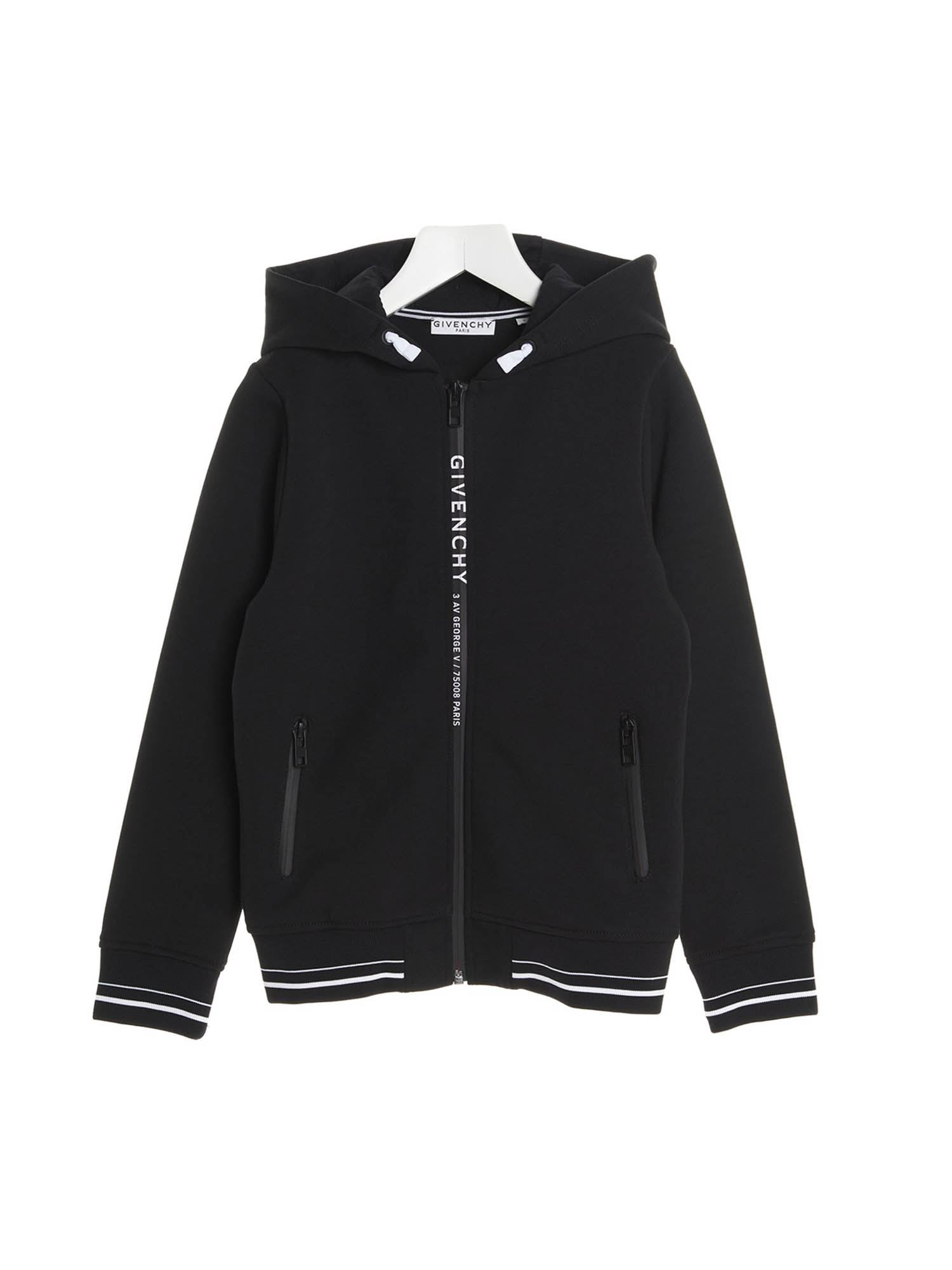 Givenchy BRANDED ZIPPED SWEATSHIRT IN BLACK