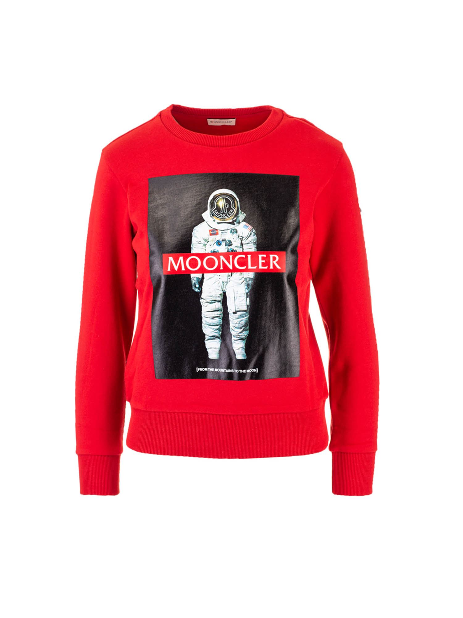 Moncler Jr ASTRONAUT LOGO SWEATSHIRT IN RED