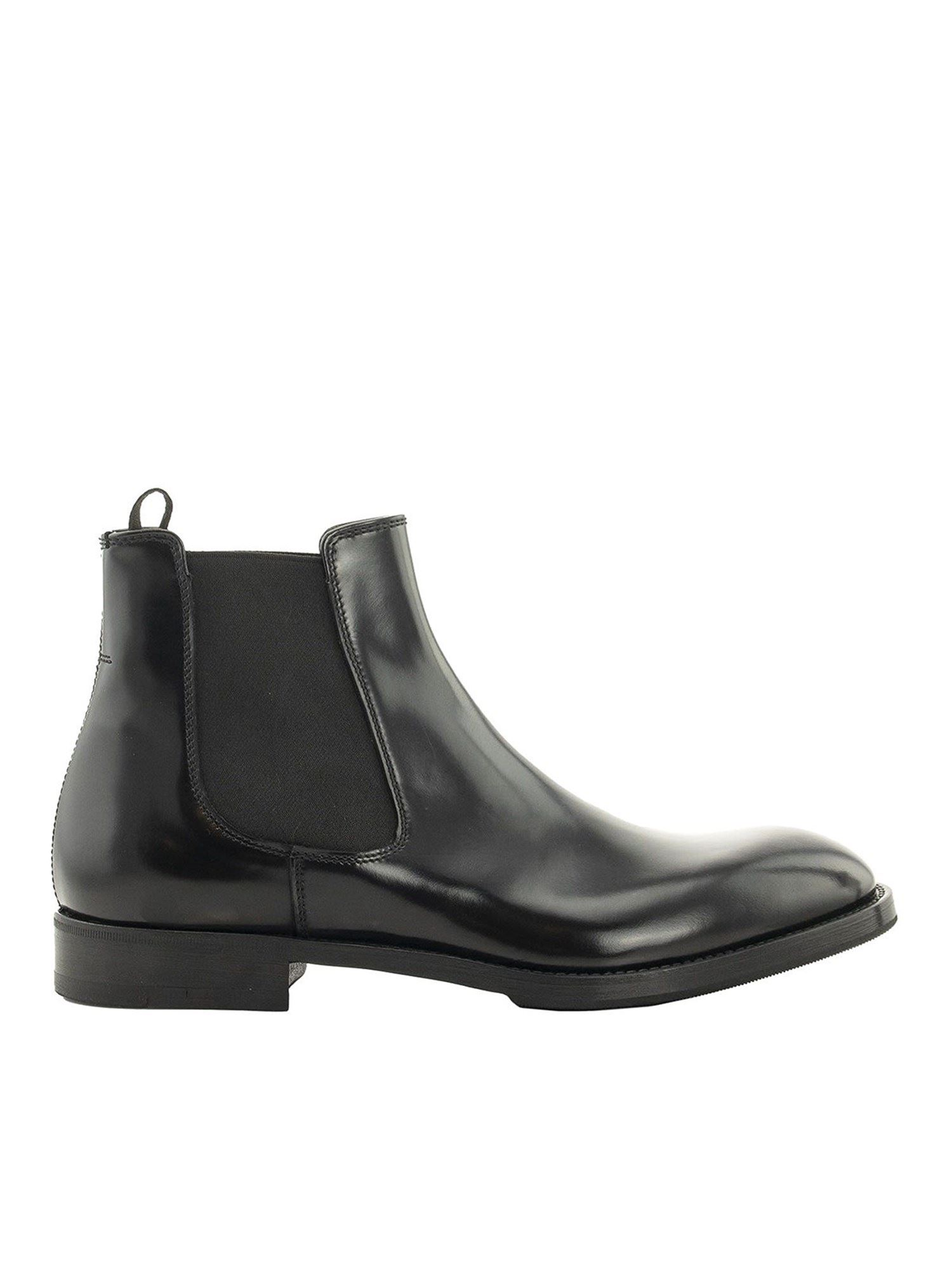 Premiata BRUSHED LEATHER ANKLE BOOTS IN BLACK