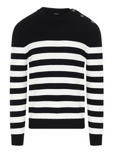 Balmain - Striped sweater in black and white