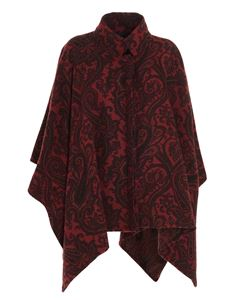 Etro - Paisley pattern poncho in red