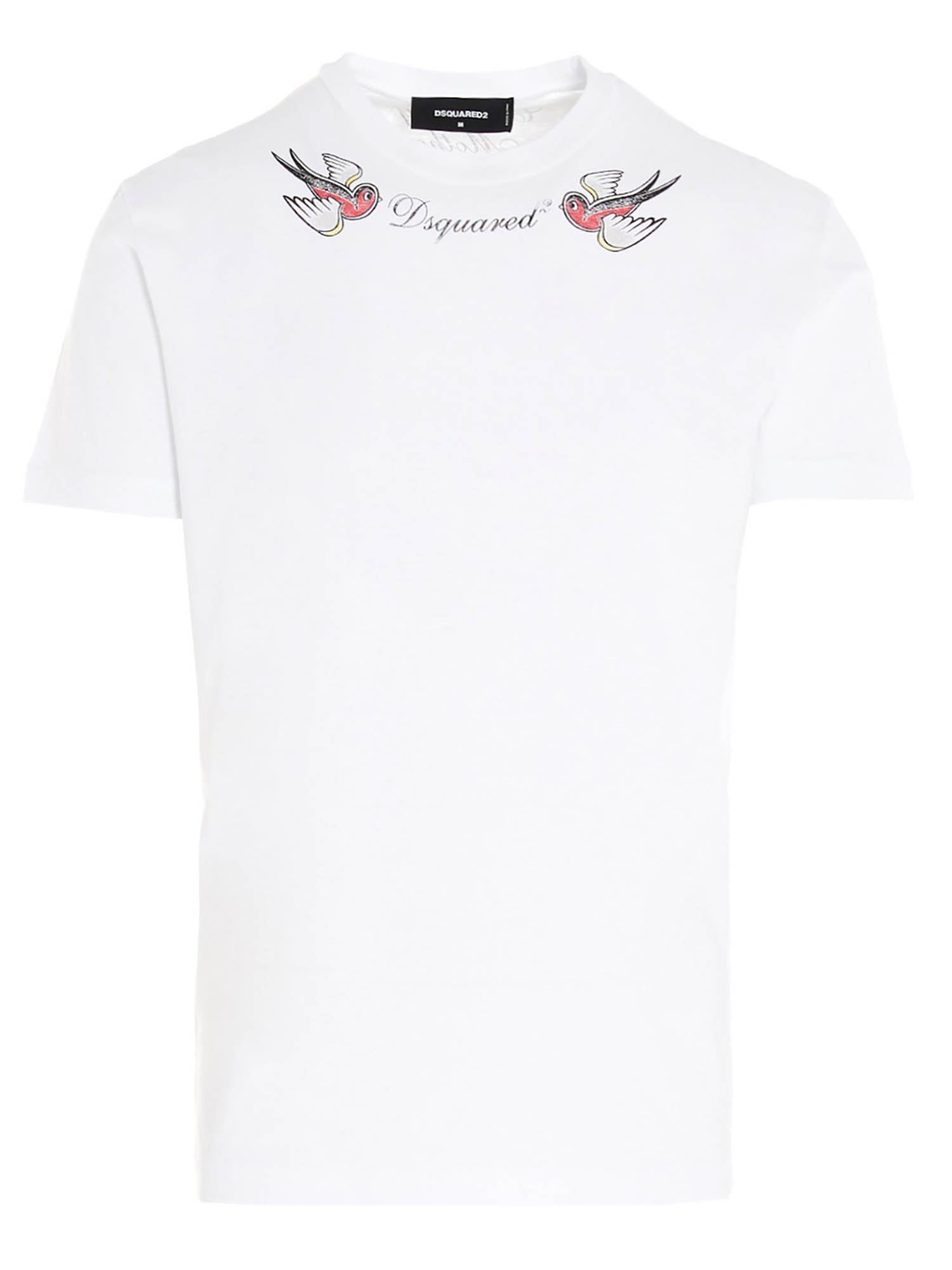 Dsquared2 Cottons LOGO PRINTED T-SHIRT IN WHITE