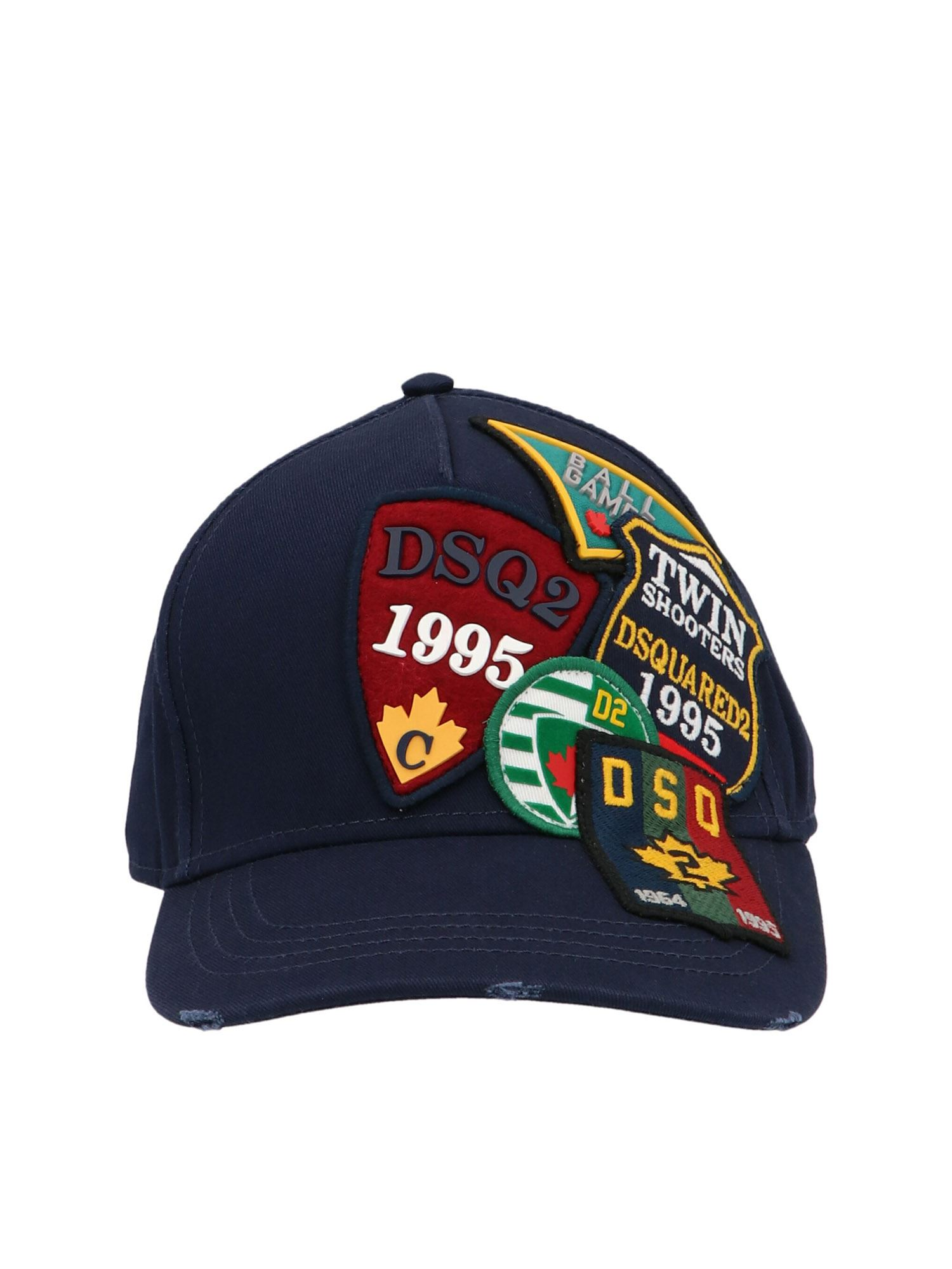 Dsquared2 ALL-OVER PATCH BASEBALL CAP IN BLUE
