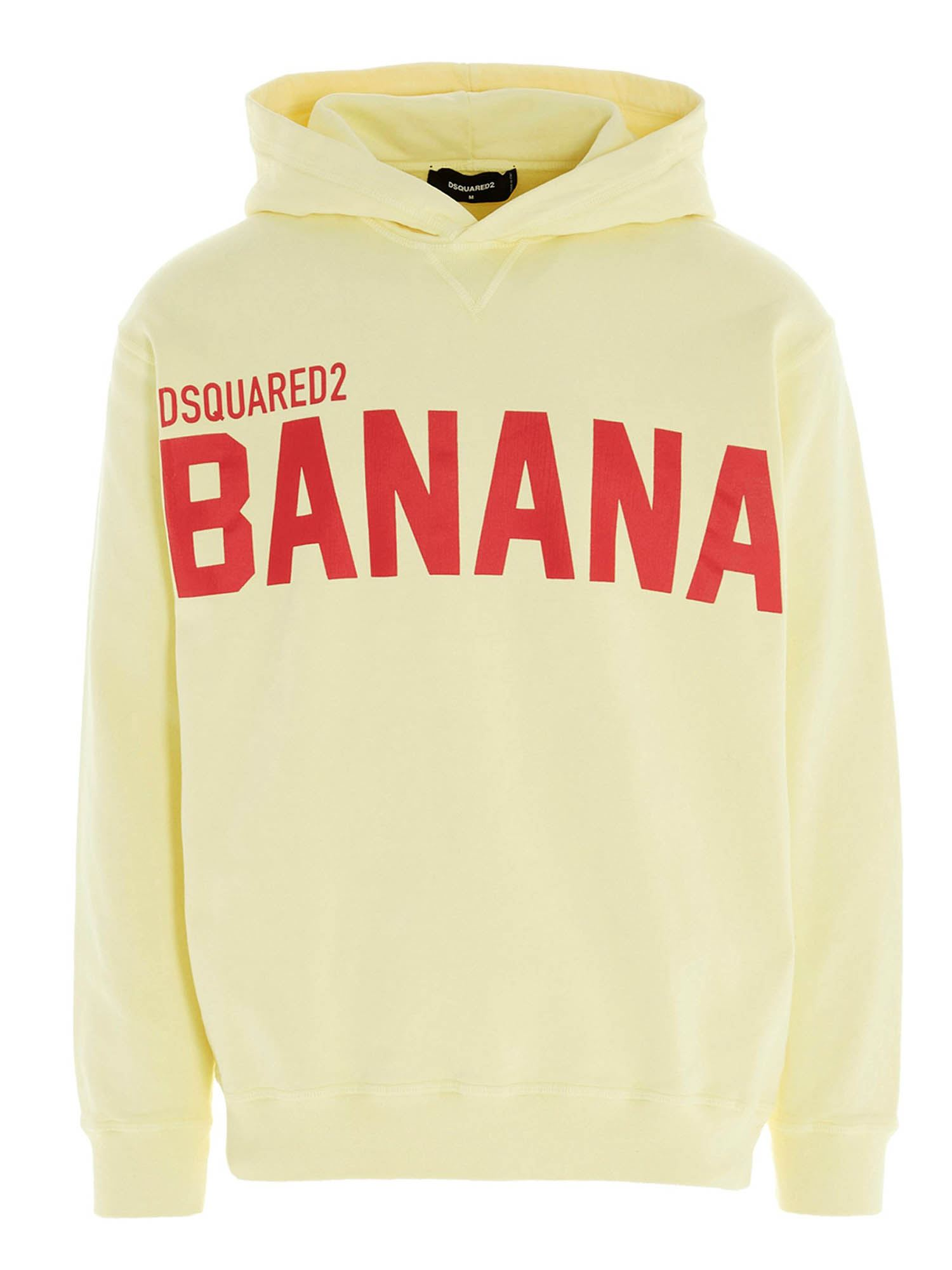 Dsquared2 Cottons BANANA HOODIE IN YELLOW