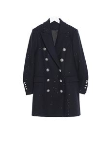 Balmain - Logo buttons coat in blue