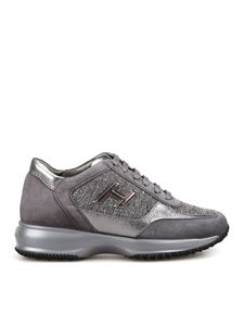 Hogan - Interactive grey shiny tweed sneakers