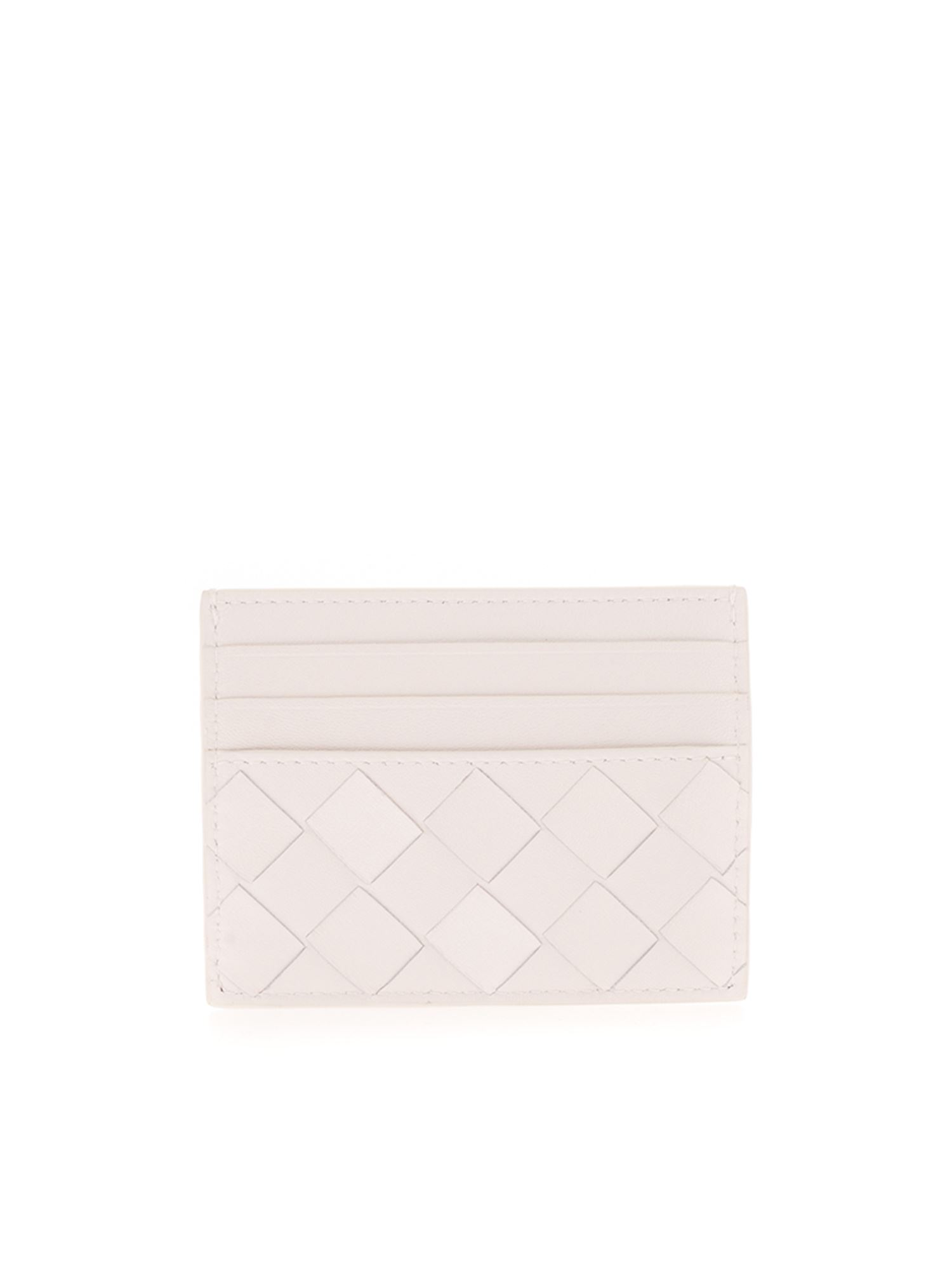 Bottega Veneta WOVEN CARD HOLDER IN WHITE