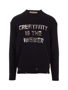 Golden Goose - Pullover nero effetto destroyed