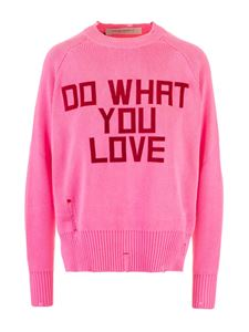 Golden Goose - Pullover rosa effetto destroyed