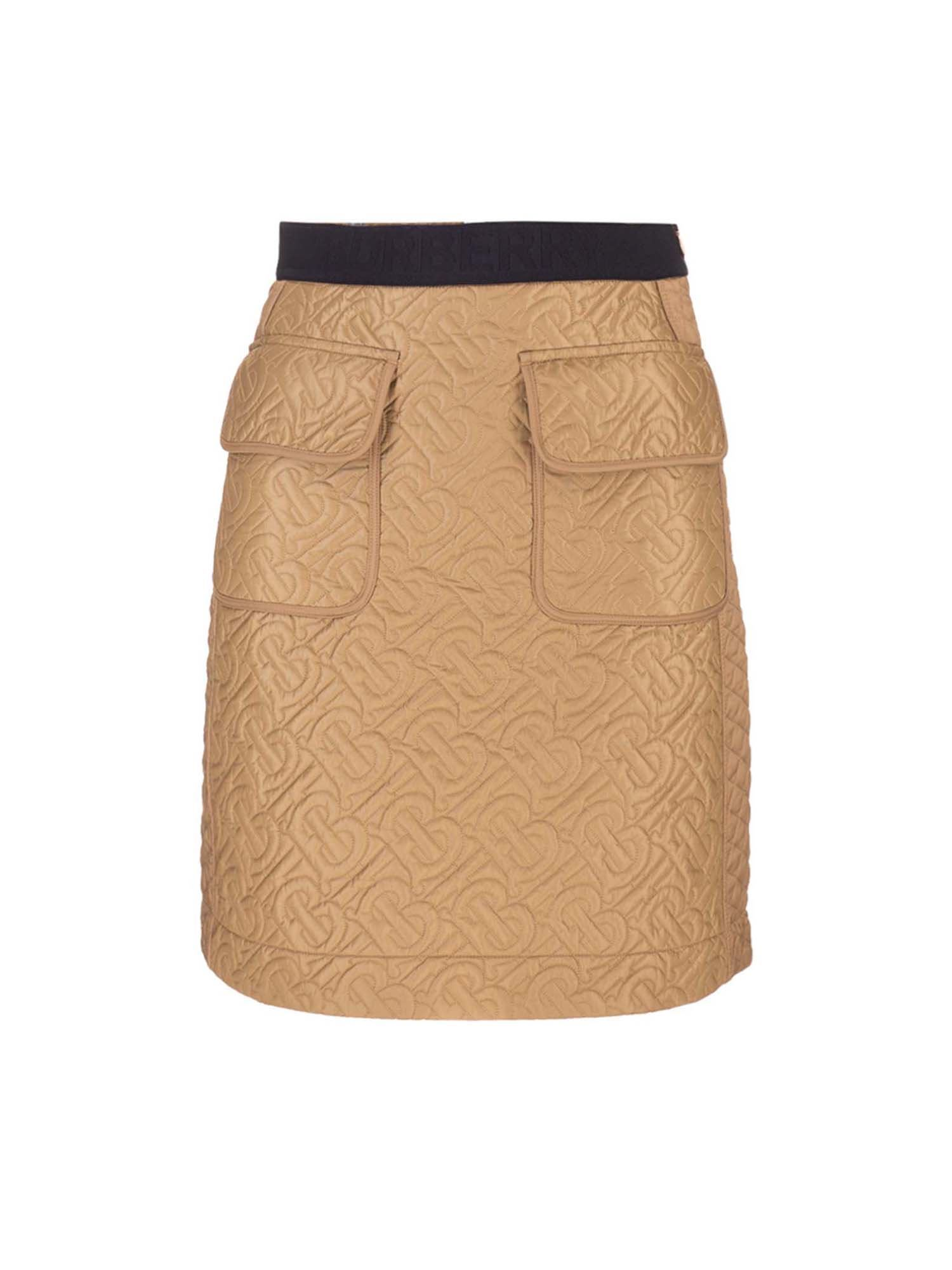 Burberry QUILTED LOGO SKIRT IN BEIGE