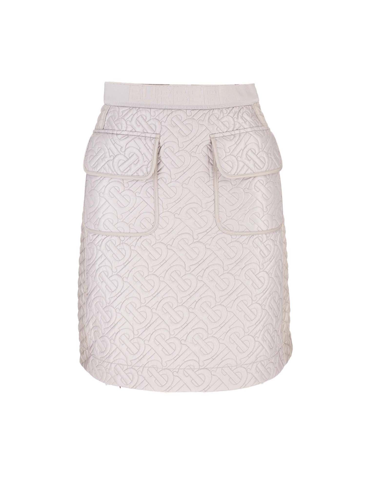 Burberry Linings QUILTED LOGO SKIRT IN GREY
