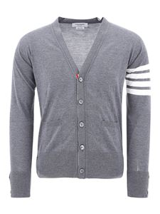 Thom Browne - Cardigan 4-Bar in lana grigia