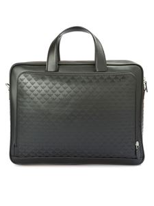 Emporio Armani - All over embossed logo leather briefcase in black