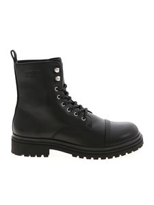 Versace Jeans Couture - Logo band combat boots in black