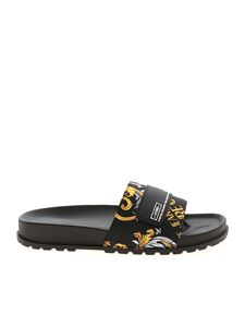 Versace Jeans Couture - Baroque logo pattern slippers in black