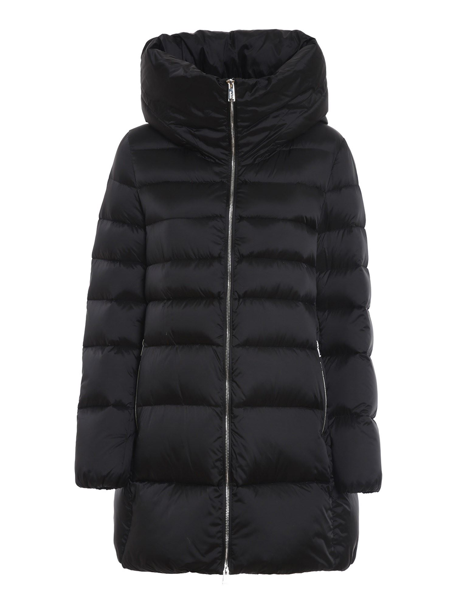 ADD ADD BLACK QUILTED LONGUETTE PUFFER JACKET