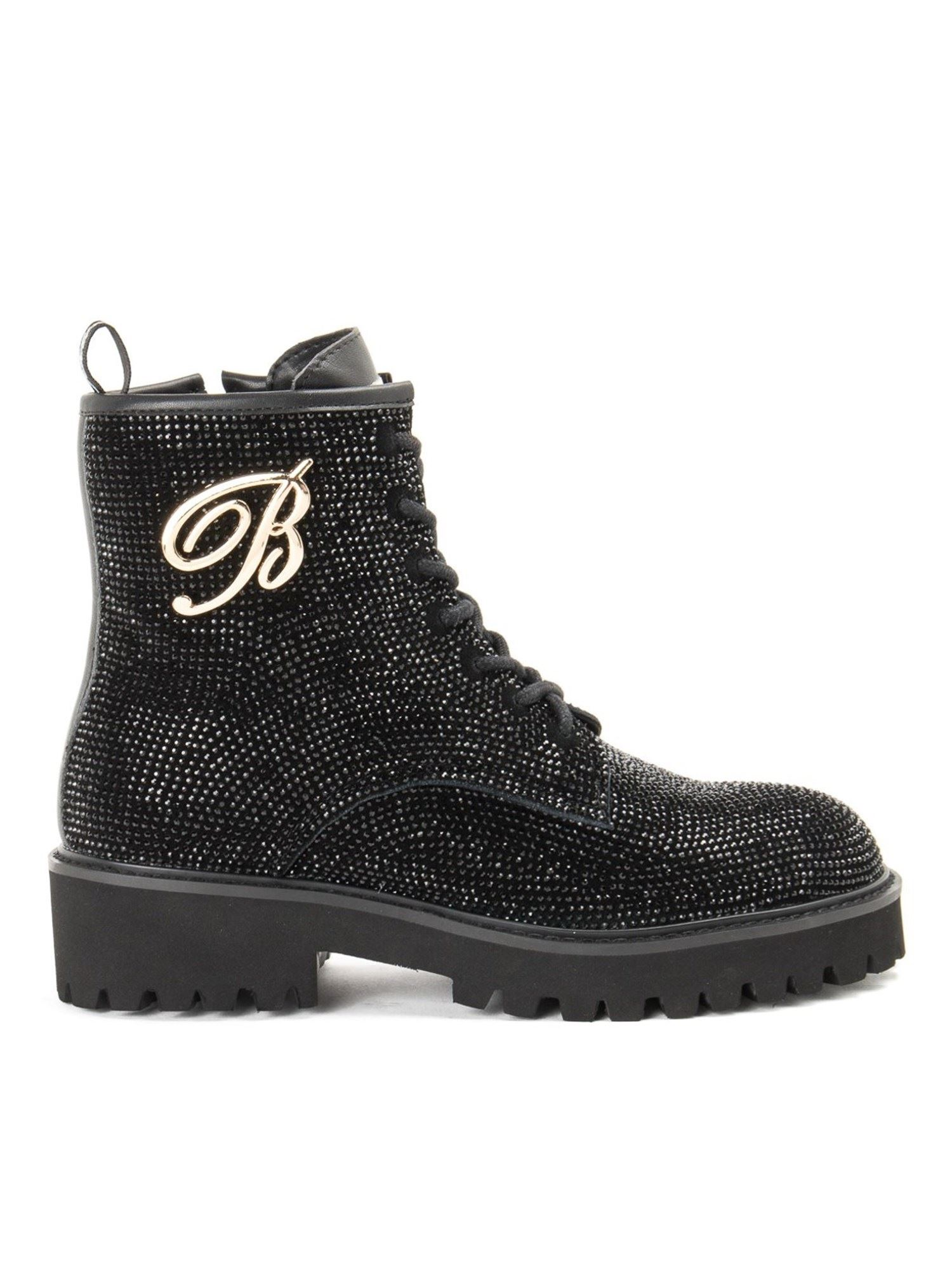 Blumarine RHINESTONE BLACK LEATHER ANKLE BOOTS