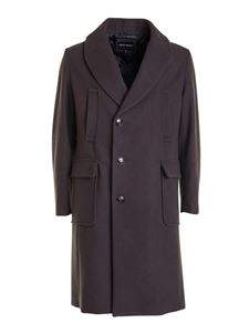 Emporio Armani - Wool cloth knee length coat in brown