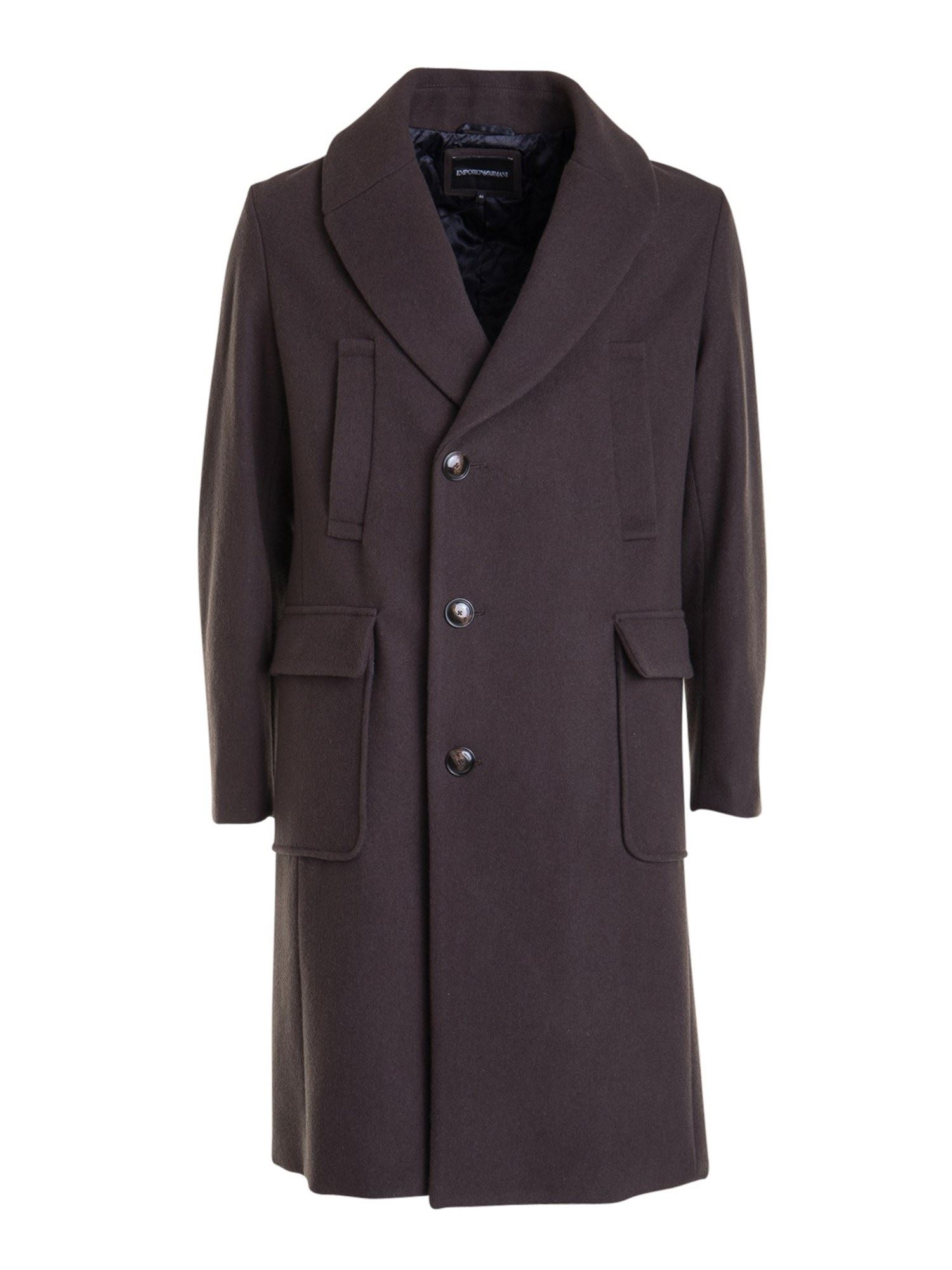 Emporio Armani Coats WOOL CLOTH KNEE LENGTH COAT IN BROWN