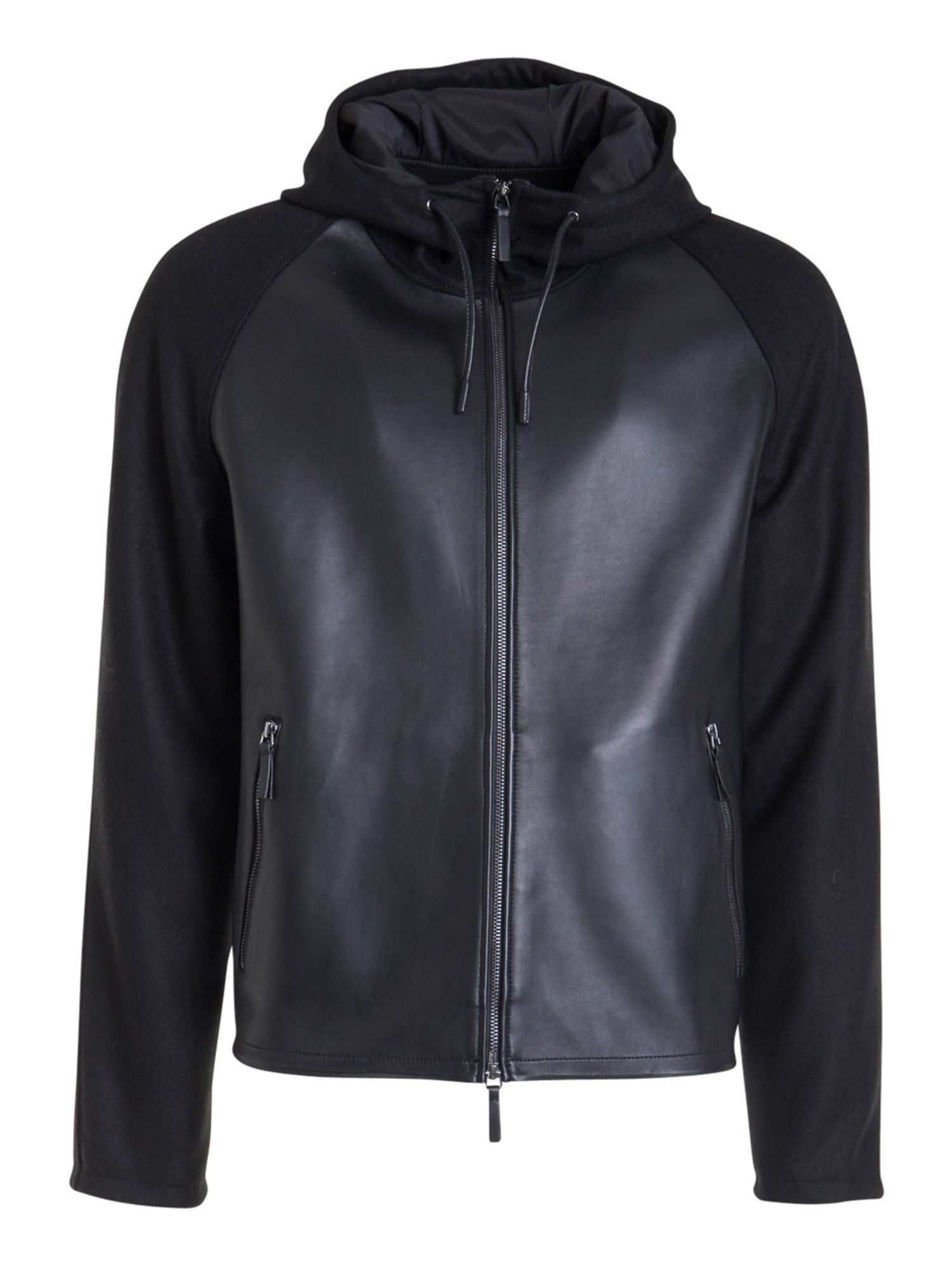 Emporio Armani Leathers WOOL BLEND DETAIL LEATHER JACKET
