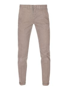 Fay - Straight leg stretch cotton trousers in dove grey