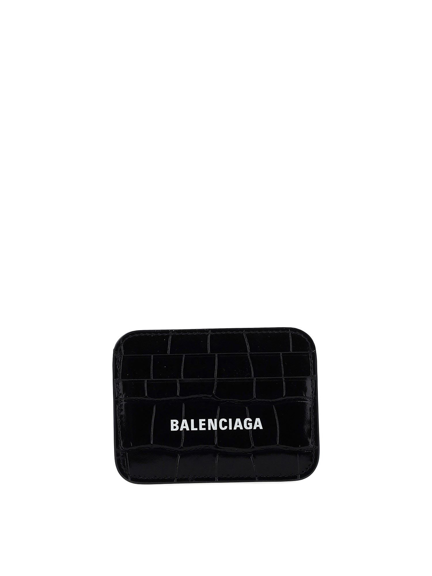 Balenciaga CROCO PRINT CARD HOLDER IN BLACK