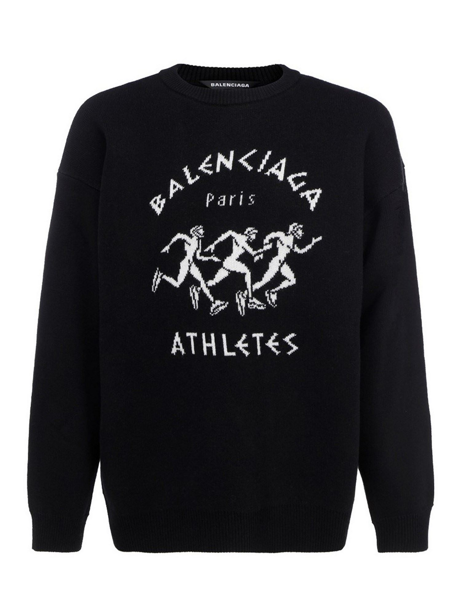 Balenciaga ATHLETES WOOL-BLEND JUMPER IN BLACK