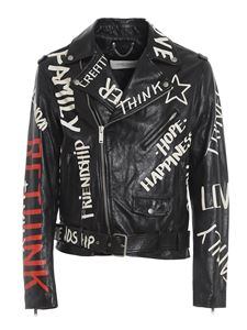 Golden Goose - Graffiti print leather jacket in black