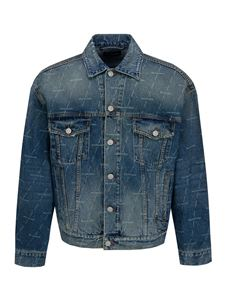 Balenciaga - Logo print denim jacket in blue
