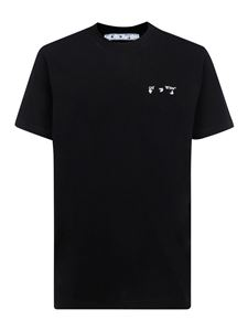 Off-White - Embroidered cotton T-shirt in black