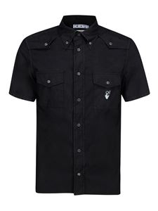 Off-White - Black denim short sleeve shirt