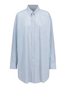 Maison Margiela - Striped cotton shirt in light blue