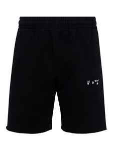 Off-White - Branded cotton tracksuit shorts in black